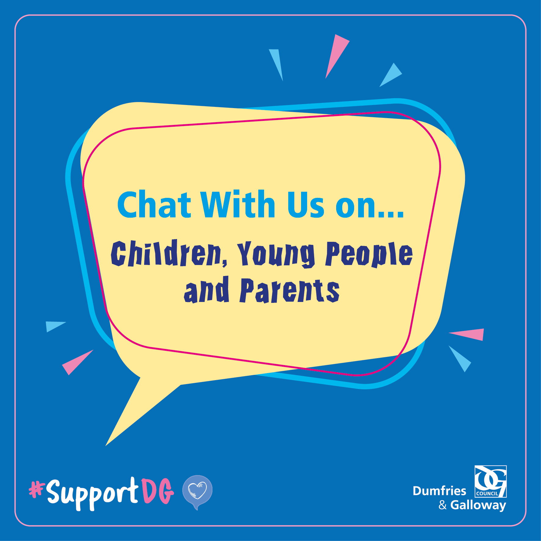 An image relating to Chat with us on - Children, Young People and Parents